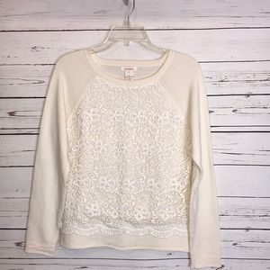 Sundance merino wool/lace crewneck sweater
